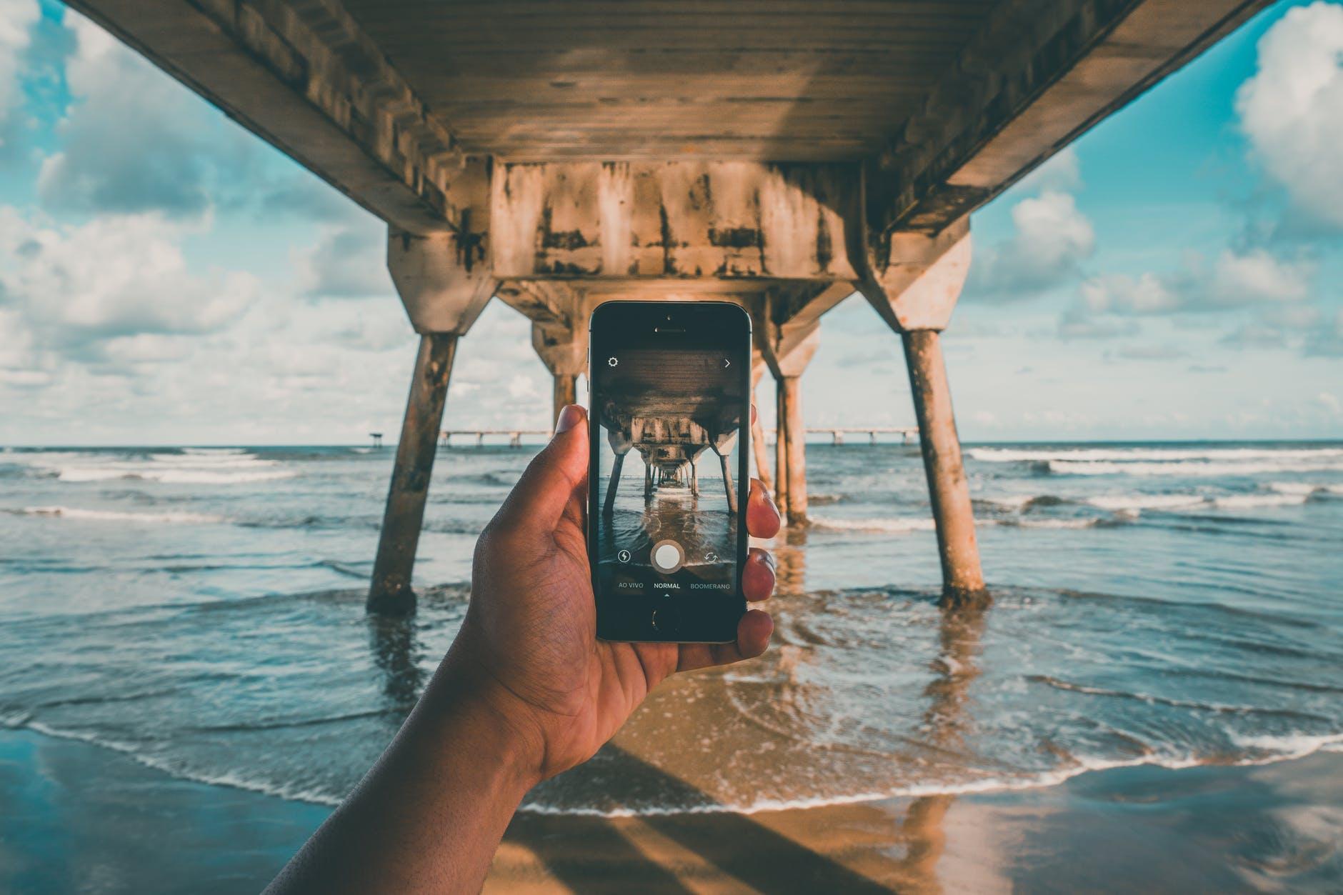beach camera clouds dock